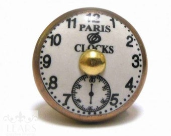 Vintage Paris French Clock Door Drawer Knob Handle Ceramic Copper Look Metal