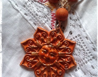 Necklace with Sun , in  terracotta, handmade. Collana con sole.