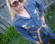 Vintage Embroidered Mushroom Butterfly Belted Denim Shirt Tunic - Hippie, Hipster, etc.