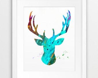 Deer Antlers Watercolor Print, Deer Silhouette Watercolor Turquoise, Cyan, Woodland Animal, Modern Wall Art, Nursery Decor, Printable Art