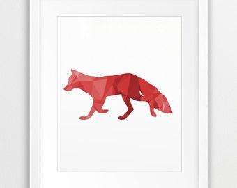 Fox Triangle Mosaic Printable File, Woodland Animals Geometric Pattern Pink Red - Wall Art Nursery Home Decor Digital Print Instant Download