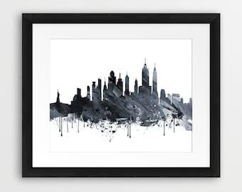 New York Skyline Print, New York Cityscape Watercolor Neutral Grey Black White, NYC Print, Modern Wall Art, Home Office Decor, Printable Art