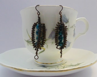 Turquoise Copper Wire Wrapped Earrings