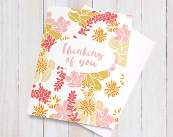 Desert Spirit Thinking of You Card - floral pretty flowers beautiful pink red orange yellow girly colorful blank greeting card, miss you