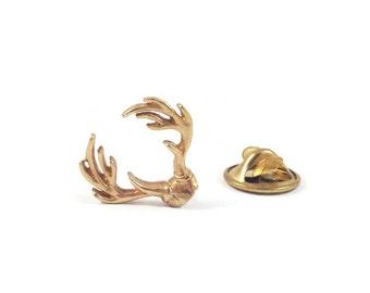 Lapel Pin, Antler Pin, Deer Pin, Mens Jewelry, Gifts for Him, Brass Pin, Tie Tack, Moose Pin