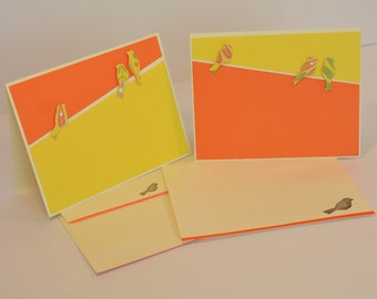 Birds on a Wire Notecards, Yellow and Orange -- Set of 4 Cards with Envelopes