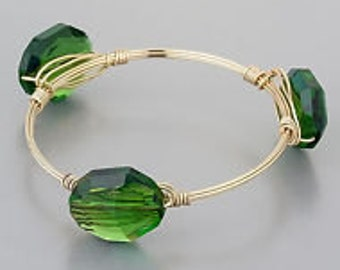 Green Stones Wire wrapped Bracelet