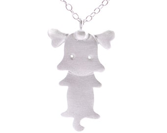 Dog and his Bone Necklace in Sterling Silver Matte Finish 16'' - 18''