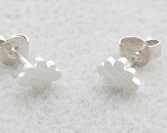Sterling Silver Tiny Little Cloud Stud Earrings in Sterling Silver with textured finish