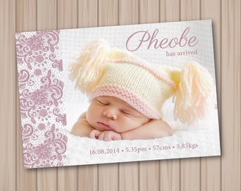 custom baby girl birth announcement