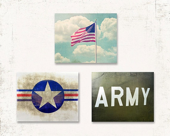Usaf Wall Decor : Items similar to us army wall art military decor set of three prints or canvases flag