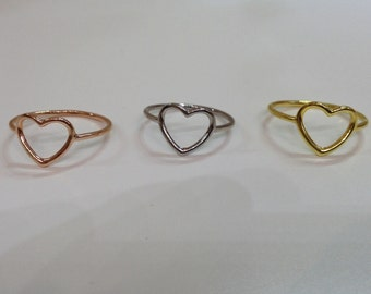 Tiny heart ring. Sterling silver 925. Handmade ring. Sterling ring. Silver ring. Tiny heart jewelry.  D