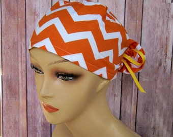 Womens Surgical Scrub Caps - Ponytail Scrub Hat - Scrub Caps - Orange Chevron