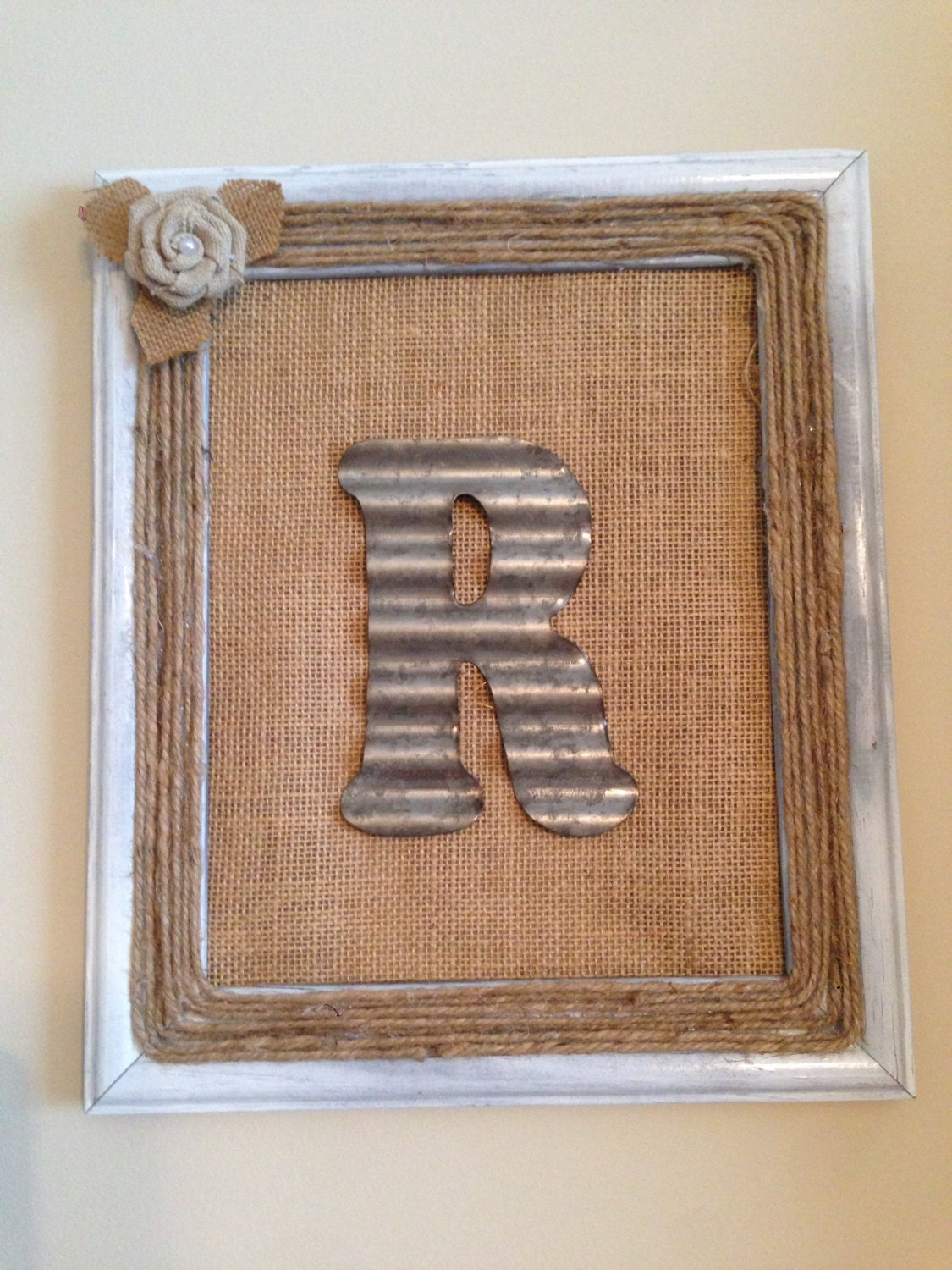 Rustic Monogram Wall Decor : Personalized rustic monogram wall hanging with burlap and