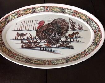 Mid-Century 60's Turkey Platter, Serving Platter, Decorative