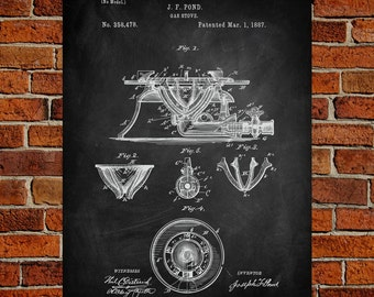 Gas Stove Art Print, Gas Stove Patent, Gas Stove Vintage, Gas Stove Blueprint, Gas Stove Print, Stove Prints, Stove Wall Art, Stove Decor