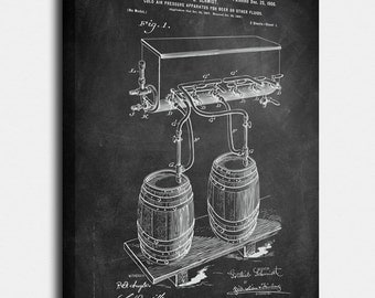 Beer Canvases, Patent, Vintage Art, Blueprint, Poster, Wall Art, Décor