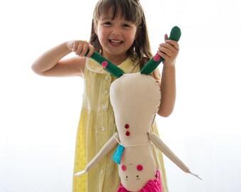 Fabric doll Handmade Pink Hair art doll child friendly softie plush rag doll stuffed doll blonde birthday gift for girl