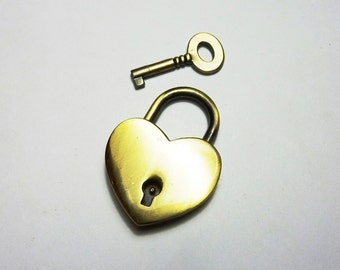 Heart shaped padlock bronze KR-06Y040
