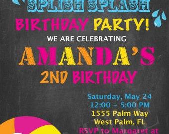 Pool Party Birthday Invitation, Digital