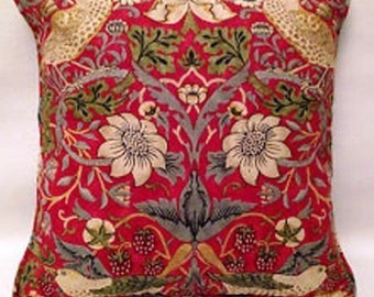 "William Morris Strawberry Thief Crimson Slate Cushion Cover 16""x12"" 16""X16"" Fabric Both Sides"
