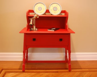 Red Vintage Entry Table, Desk or Hutch