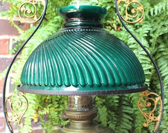 Antique Victorian Hanging Lamp - Extremely Rare Brass Oil Library Parlor Lamp Emerald Green Shade