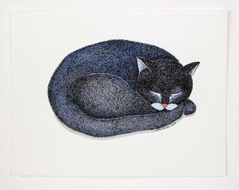 Original illustration of a fluffy cat