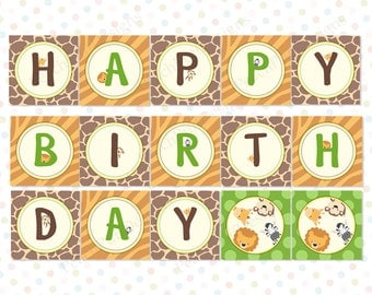 Safari Birthday banner (INSTANT DOWNLOAD) - Safari banner - Jungle Birthday banner - Safari theme party - Jungle theme party MU001