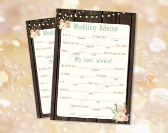Wedding mad libs printable Rustic (INSTANT DOWNLOAD) - Mad libs wedding - Wedding advice card - Guest book alternative -Rustic wedding WB001