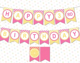 Pink and yellow banner (INSTANT DOWNLOAD) - Lemonade Birthday banner - Pink lemonade banner - Lemonade stand banner - Lemonade party BI003