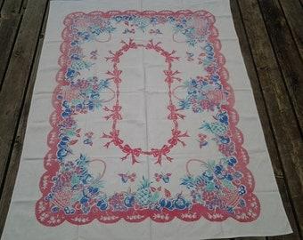 Vintage cotton tablecloth / mid century tablecloth