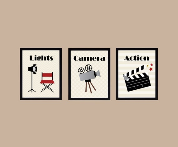 Lights Camera Action Wall Decor : Items similar to Lights Camera Action, Home Theater Art Prints, Home Theater, Home Decor, Movie ...