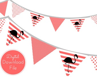 Peach Flamingo Banner, Stripes, Dots, Pennant, Garland, Printable Banner, Baby Shower Banner, Birthday Party, Bridal Shower, Wedding banner