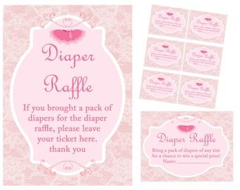 Diaper Raffle ticket, diaper raffle pink, diaper raffle insert, diaper raffle printable, Tutu, Ballerina Baby Shower, ballet Baby TLC36