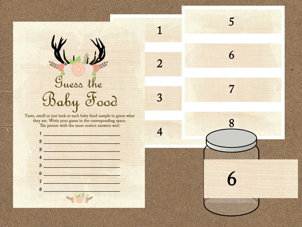 Baby food game baby food jar labels sign guess the baby for Baby food jar label template