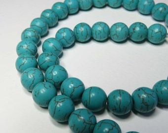 Imitation Turquoise Round Beads. 10mm. 41 Beads.