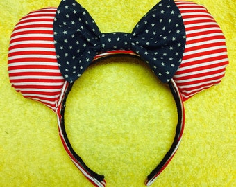 Hand Made Patriotic Adult Minnie Mouse Ears Each One is Unique!
