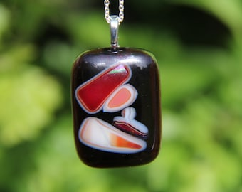 Deep purple glass pendant with dichroic pattern ,  dichroic glass necklace