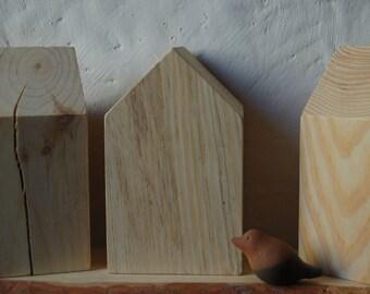 Shelf Sitters, Wooden Shelf sitters, Wooden houses, set of 3