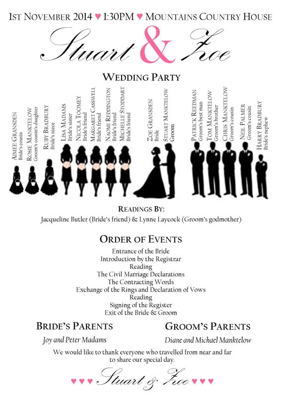 Items similar to Wedding Order of Service service wedding