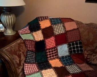 Homespun Rag Quilt, Rag Quilt, Handmade Quilt, Throw Quilt, Rustic Rag Quilt, Earth Tones, Quilted Throw, Blanket