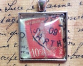 Jewelry Vintage Postage Stamp Square Charm