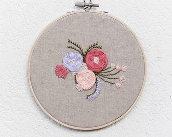 Garden Floral ~ 6' Handmade Embroidery Hoop Art