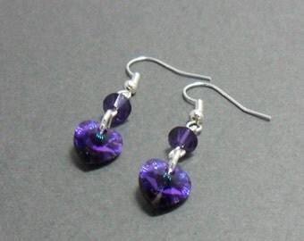 Purple Bridesmaid Earrings, Purple Crystal Earrings, Swarovski Crystal Beads, Wedding Earrings, Drop Earrings, Swarovski Wedding Earrings.