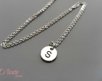 Tiny Silver Initial charm necklace, everyday jewelry, fashion necklace
