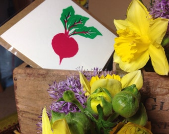 Beetroot hand screen printed cards