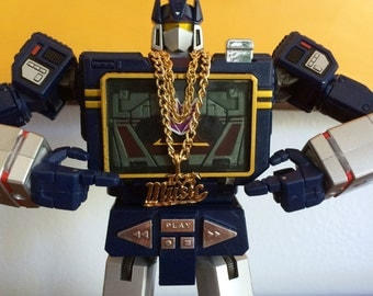 Gold Tone Dookie Chain Necklace w/ Charm for Transformers Masterpiece Soundwave - Third Party Add-on - MP-13 - Hip Hop Necklace