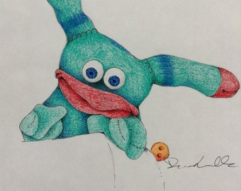 Little Blue Sock Guy, Monster, Creature... Original Sketch, Drawing
