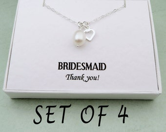 Set Of 4 Pearl Bridesmaid Necklace With Message Card, Freshwater Pearl Bridesmaid Gift, Sterling Silver Wedding Jewelry, Bridesmaids Jewelry